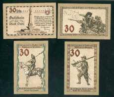 Deutschland Notgeld Suhl  Stadt 4 Verschiedene  30 Pfennig Kriegs-Waffenabbildungen 1921 Erhaltung I - Lokale Ausgaben