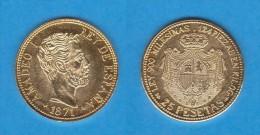 AMADEO I   25 PESETAS 1.871  ORO MADRID  SC/UNC  Réplica    T-DL-11.521 - [ 1] …-1931 : Reino