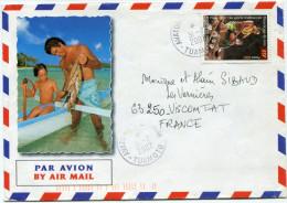 POLYNESIE LETTRE PAR AVION DEPART AVATORU-RANGIROA 31-7-2002 TUAMOTU POUR LA FRANCE - Polynésie Française