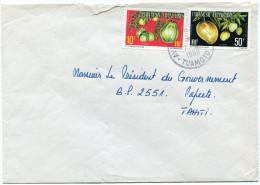 POLYNESIE LETTRE PAR AVION DEPART AVATORU-RANGIROA 7-1-1988 TUAMOTU POUR PAPEETE (AFFRANCHISSEMENT TIMBRES DE SERVICE) - Storia Postale