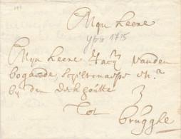 625/23 - Lettre PRECURSEUR YPRES 1715 Vers BRUGGHE - Port Encre 3 Stuyvers - Signée De Thibault - 1714-1794 (Austrian Netherlands)
