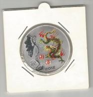 §§§ TRES BELLE MEDAILLE §§§ CHINOISE COLORISEE Dragon 2012 SOUS BLISTER Comme Neuve ! § METAL ARGENTE? § - Jetons En Medailles