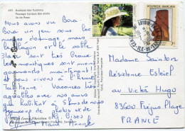POLYNESIE CARTE POSTALE DEPART CENTRE-TRI-AVION-FAAA 7-8-1986 ILE-DE-TAHITI POUR LA FRANCE - Storia Postale
