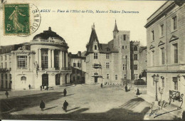 AGEN -- PLACE DE L´HÔTEL DE VILLE, MUSÉE ET THÉATRE DUCOURNEAU -- 1917 -- - Agen