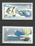 INDIA, 2009, Preserve The Polar Regions A Nd Glaciers,Set 2 V, MNH, (**) - Nuovi