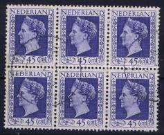 Nederland: NVPH Nr 487 In 6 Block  Used 1948 - Period 1891-1948 (Wilhelmina)