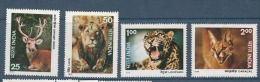 INDIA, 1976,  Fauna, Indian Wildlife, Wild Life, Set 4 V,  Animals, Deer, Lion, Leopard, Jackal, Animal MNH, (**) - Ongebruikt