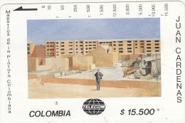 COLOMBIA(Tamura) - Edificios Nen Construccion, Painting/Juan Cardenas, Tirage 10000, Used - Colombia