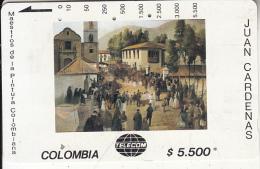 COLOMBIA(Tamura) - Carrera 7 Con Rio Fransisco, Painting/Juan Cardenas, Tirage 19000, Used - Colombia