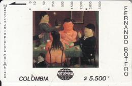 COLOMBIA(Tamura) - Los Jugadores De Cartas, Painting/Fernando Botero, Tirage 20000, Used - Colombia