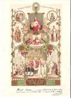 Grande Attestation Couleurs De Communion Et Confirmation 1930 - Imágenes Religiosas