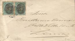 G)1894 PERU, DBL. INVERTED OVPT., PRES. REMIGIO MORALES BERMUDEZ, LIMA PERU CIRC. CANC., CIRCULATED COVER, INTERNAL USAG - Peru