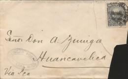 G)1887 PERU, COAT OF ARMS 10C, DUNCAN FOX & C. OVAL STRIKE, CIRCULATED COMERCIAL COVER TO HUANCAVELICA MANUSCRIPT VIA IC - Peru