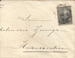 G)1887 PERU, 10C COAT OF ARMS, CIRCULATED COMERCIAL COVER TO HAUNCAVELICA, F - Peru