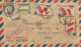 """G)1951 PERU, MULTIPLE, TORIBIO DE LUZURIAGA-POPULAR REST.-NATIONAL FLAG OVERPRINTED """"U.P.U. 1874-1949"""" IN RED, AIRMAIL C - Peru"""