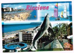 O841 Riccione (Rimini) - Panorama Vedute Multipla - Delfino Dauphin, Dolphin, Delfin / Viaggiata 2001 - Italia