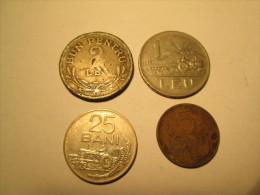 ROMANIA Lot Of 4 Coins 2 Lei 1924 1 Leu 1963 25 Bani 1966 5 Bani 1956 # 3 - Romania
