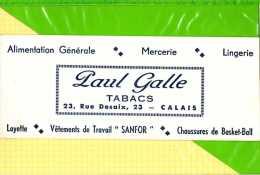 BUVARD & Blotting Paper : ALIMENTATION GENERALE  Tabacs  PAUL GALLE CALAIS - Tabac & Cigarettes