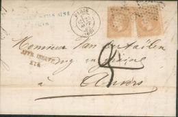 1869 - Paris - Lettre Commerciale Sur Napoléon 2 X1 Y&T N° 28A Taxée Affranchissement Insuffisant Pour (Anvers Belgique) - Postmark Collection