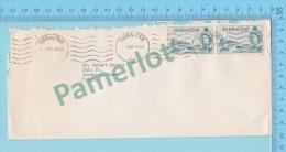Gibraltar ( 1960, Mecanical Cover M Cashet Mécanique, Gibraltar To USA Sello Stamp Barco Ship Ocean Going Line ) 2 Scans - Gibraltar