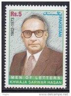 PAKISTAN, 2005, Khwaja Sarwar Hasan,  Personality, Literature, MNH, (**)