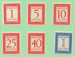 NNG SC #J1-6 MH  1957 Postage Due / Numerals, CV $18.75 (if NH) - Netherlands New Guinea