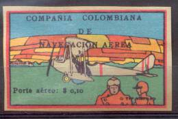 COMPAÑIA COLOMBIANA DE NAVEGACION AEREA PORTE AEREO $ 0,10.- EN SOBRECARGA NEGRA YVERT NR. 8 RARE - Colombie