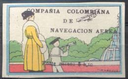 COMPAÑIA COLOMBIANA DE NAVEGACION AEREA PORTE AEREO $ 0,10.- EN SOBRECARGA NEGRA YVERT NR. 2 RARE - Colombie