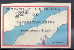 COMPAÑIA COLOMBIANA DE NAVEGACION AEREA PORTE AEREO $ 0,10.- EN SOBRECARGA NEGRA YVERT NR. 2A RARE - Colombie