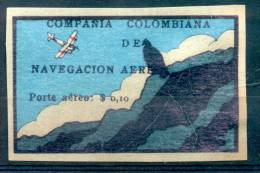 COMPAÑIA COLOMBIANA DE NAVEGACION AEREA PORTE AEREO $ 0,10.- EN SOBRECARGA NEGRA YVERT NR. 7 RARE - Colombie