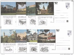 Série Complète  Châteaux Et Architecture1997  Avec Cachet Du Château De 16 Cartes A 49/64 Michel P 11 A II - Postwaardestukken