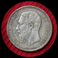 5 Francs Argent Leopold II 1868 - 09. 5 Francs