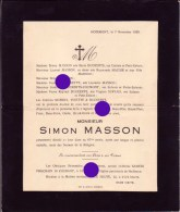 HODIMONT VERVIERS 1928 Mr SIMON MASSON DUCKERTS - Obituary Notices