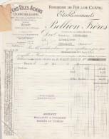 Facture 27/5/1937 Ets BELLION Frères Fonderie Fer & Cuivre BREST Finistère - étiquette Fermeture Pour Congés Payés - France