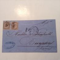 Italia Italy 1863 Issue 30c X2 Cover MILANO STAZ. 1870 > BURGDORF, Schweiz. XF DOUBLE RATE TO SWITZERLAND (lettera Brief