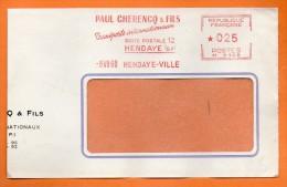 HENDAYE  TRANSPORTS INTERNATIONAUX   1960 Devant De Lettre  N° EMA 2585 - Postmark Collection (Covers)