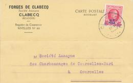 387/23 - Carte Privée TP Houyoux CLABECQ 1928 Vers COURCELLES - Entete Forges De Clabecq - 1922-1927 Houyoux