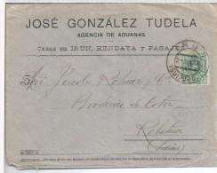 IRUN GUIPUZCOA CC A SUIZA 1916 SELLO ALFONSO XIII MEDALLON 5 CTS AL DORSO LLEGADA - 1889-1931 Royaume: Alphonse XIII