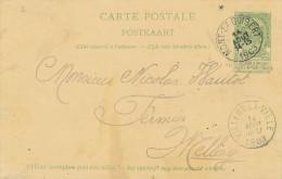 261/22 - Entier Postal Armoiries MONT ST GUIBERT 1903 Vers MELLERY Par VILLERS LA VILLE - Postwaardestukken
