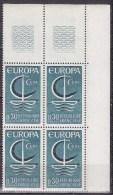 N°1490 Europa 30c Bleu De 1966 En Bloc De 4 Timbres Neuf - France