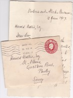 1917 GB GV Postal STATIONERY COVER With LETTER From VICTORIA ALBERT MUSEUM London To St Albans Stamps - Stamped Stationery, Airletters & Aerogrammes