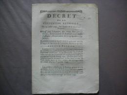 DECRET DE LA CONVENTION NATIONALE DU 29 JUILLET 1793 L'AN SFECOND DE LA REPUBLIQUE FRANCOIFE N° 1388 - Documents Historiques