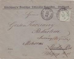 Württemberg 1919, Dienstbrief  3 Pf , LITTERATUR-KALENDER STUTTGART TO BUDAPEST HUNGARY. - Wuerttemberg