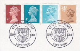 1988 GB CULTS ACADEMY ABERDEEN EVENT COVER Heraldic Archery School Scottish Regional Stamps - Tir à L'Arc