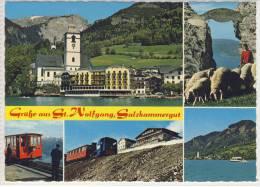 ST. WOLFGANG - SCHAFBERG, Mehrbildkarte M. Zahnrad Bahn,  Himmelspforte, Hotel Weißes Rößl - St. Wolfgang