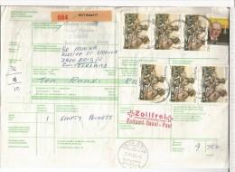 TRANSKEI  BOLETIN PAQUETE POSTAL A SUIZA 1985 SELLOS COMIDA MEDICINA STEWART HALSTEAD - Transkei