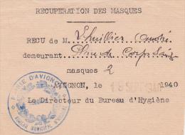 1940 REÇU De RECUPERATION DE 2 MASQUES - MAIRIE D'AVIGNON BUREAU D'HYGIENE - Vaucluse WW2 Guerre - Documents Historiques