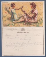 JOLI TELEGRAMME ROYAUME DE BELGIQUE - ILLUSTRATEUR SIMMES ? - MERE ET FILLE AVEC FLEURS - B. 11 (F.) TIENEN - Stamped Stationery