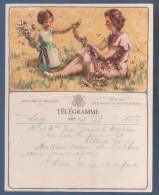 JOLI TELEGRAMME ROYAUME DE BELGIQUE - ILLUSTRATEUR SIMMES ? - MERE ET FILLE AVEC FLEURS - B. 11 (F.) LIEGE - Stamped Stationery