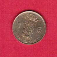 BELGIUM  1 FRANC (FRENCH) 1956  (KM # 142.1) - 1951-1993: Baudouin I